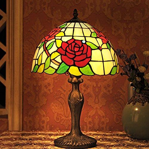 Luce Tiffany 12 pollici stile pastorale vetro istoriato Rosa Serie Lampada da tavolo Bedroom Light Reading