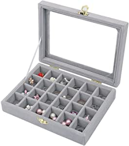 BUCKETLIST® Earring Storage Case 24 Compartments Ring Velvet Display Case Box Earring Ring Organizer Velvet Jewelry Tray Cufflink Storage Showcase with Clear Glass Lid (Grey)