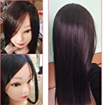 POOPOOAH 65cm Hair Styling Mannequin Head Maroon Hair Long Hair Hairstyle Hairdressing Training Doll Female Mannequins...