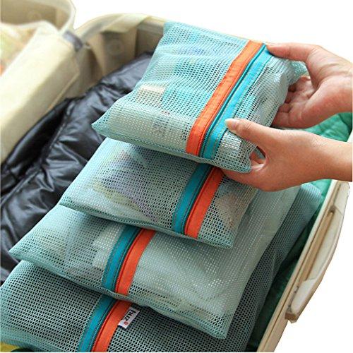 4er Set hochwertige Netz Packtaschen Kofferorganizer Reisetasche Beutel Kleidertasche Kulturtasche Koffer Organizer Aufbewahrungstasche BLAU (Schwarze Bettdecke Bett In Einem Beutel)