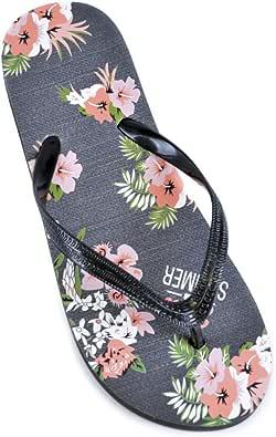 Womens/Ladies Floral Print Flip Flops