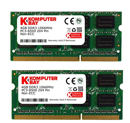 Apple 4 Gb Imac Ram (Komputerbay 8GB (2X4GB) DDR3 SODIMM (204 pin) 1066Mhz PC3 8500 für Apple 8 GB)