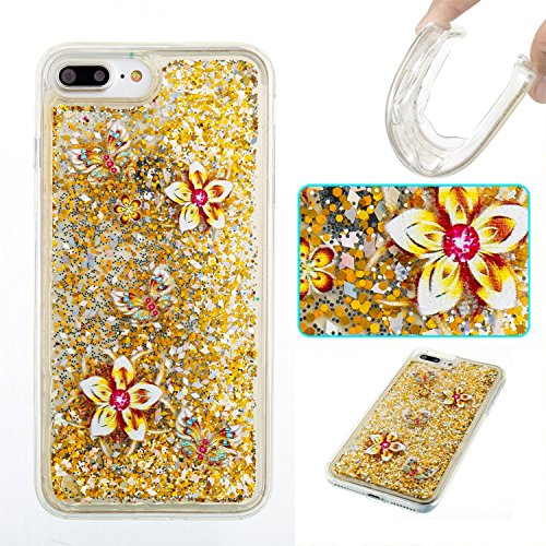 For iPhone 7 PLUS 5.5[CUTE SPARKLING]Novelty Creative Liquid Glitter Design Liquid Quicksand Bling Adorable Flowing Floating Moving Shine Glitter Case -PURPLE EIFFEL GOLD FLOWER