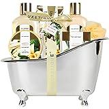 Spa Luxetique Set Bagnoschiuma Confezione Regalo Donna 8 Pezzi alla Vaniglia Cofanetto Regalo per Festa della Mamma, Complean