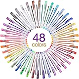 isimsus Lot de 48 stylos gel 0,5 mm avec standard, néon, lait, paillettes, métal gel Pen pour crémaillère, scrapbooking, dessin, bricolage