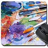 MSD Suqare Mousepad 20,3x 20,3cm Maus Pads/Matte Design 25277358Künstler Pinsel und oilpaints auf Holz Palette