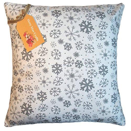 (Hetty Mae Crafts Kissen Bezug Hand Made in UK von Prestigious Textiles verschneiten Silber Stoff–gleiche Vorder- und Rückseite mit Reißverschluss Öffnung, 100 % Baumwolle, silber, 50,8 x 50,8 cm)