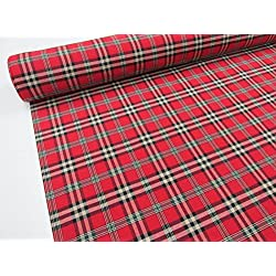 Metraje 0,50 mts tejido cuadros Ref. Escocés color Rojo, con ancho 2,80 mts.