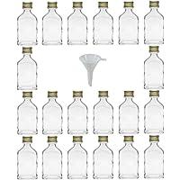 Viva Haushaltswaren Lot de 20 Mini Bouteilles en Verre avec Bouchons à vis pour 20 ML + Entonnoir Ø 5 cm