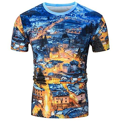 BA Zha Hei Männer Hawaiian Shirt 3D Print Kurzarm Rundhals Basic Oversize Slim Fit T-Shirt in Vielen Farben Basic Rundhals-Ausschnitt Kurzarm Regular Sport Kurzarm T-Shirts Bluse Top (M, Blau A) (Shirt Baumwolle Hawaiian)