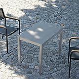 Quadrat HPL Tisch 50 x 80 cm - Gestell Alu / Platte zementoptik