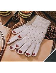 Longless Guantes tejidos de invierno señoras digitado guantes pantalla táctil estudiantes ciclismo guantes cálidos