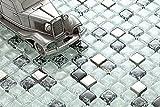10x10cm Muster. Glas Mosaik Fliesen Muster Weiß, Schwarz und Silber gebrochene und klare Glas Optik MT0078 Muster