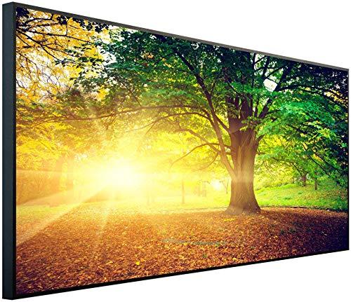 InfrarotPro | Infrarotheizung 750 Watt | Bildheizung 120x60x3 cm | Made in Germany | Geprüfte Technik | Ultra-HD Auflösung | (Herbstzeit im Wald)