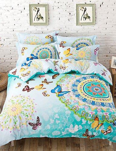 Queen-size-blatt-sets Baumwolle (GXS/ 2016 Marokko Stil / Boho Bettwäschesatz Queen-Size-Blatt + Tröster Fall + pillowcase 4pcs Baumwoll-Bettwäsche-Sets, schnelle Lieferung , queen-green , queen-green)