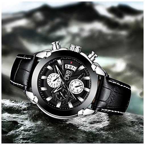 CIVO Mens Watches Black Brown Chronograph Multifunctional Waterproof Date Calendar Wrist Watch for Men Teenager Boys with Leather Band Fashion Luxury Business Dress Casual Men Sport Watches (Black)
