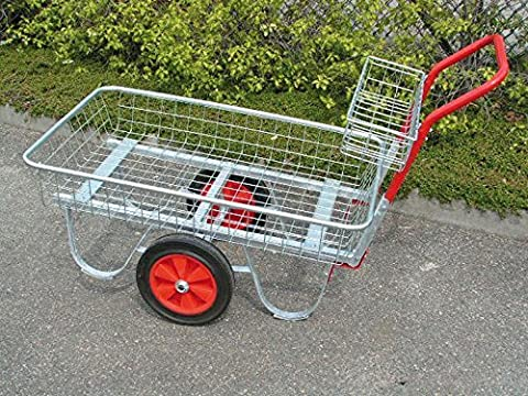 Large Garden centre trolley with carry tray silver with red handle solid wheels
