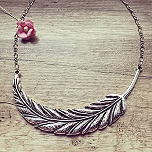 Statement Federkette Silber, swallow / bird / vintage / ethno / hippie / must have / statement / florabella schmuck