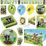 Der Kleine Maulwurf Krtek Little Mole Partyset mit Deko 95tlg. für 16 Kinder Teller Becher Servietten Tischdecke Tüten Einladung Ballons Partykette Ballonlaterne Zuglaterne