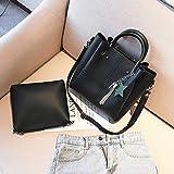 Sibu Paket Mode mit Fransen Handtaschen Trend Weibliche Einzelne Schulter Messenger Bag , schwarz