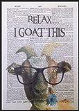 Ziege Vintage Wörterbuch Seite Wand Kunstdruck Bild Zitat Funny Quirky Animal