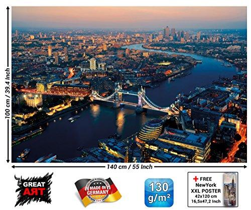 GREAT ART London bei Sonnenuntergang Wanddekoration - Wandbild Metropole Motiv XXL Poster (140 x 100 cm) (London Eye-bild)