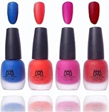 Makeup Mania Premium Nail Polish Velvet Matte Nail Paint Combo (Blue, Orange, Pink, Maroon, Pack of 4)