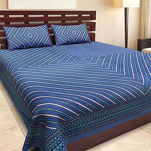 Bed Zone Jaipuri Print 100% Pure Cotton King Size Bedsheet for Double Bed with 2 Pillow Covers (Jaipur Bedspreads)
