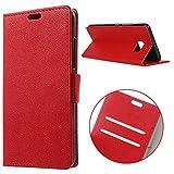 MSK® Schutzhülle HTC U Ultra Hülle, Handyhülle Klappetui Brieftasche HTC U Ultra Ledertasche - [Kartenfächer] [Standfunktion] [Brieftasche] Schutzhülle Tasche mit Kartenfach Aufstellfunktion Magnetverschluss- Rot