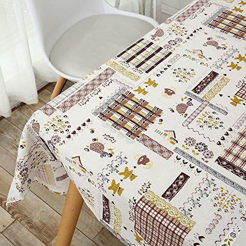 Luckyzc Cotton Linen Tablecloth, Rectangular Kitchen Table Dustproof Antifouling Home Desktop Decoration Daily, 140x180cm
