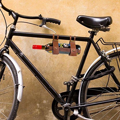 CKB Ltd Leder Fahrrad Weinflaschenhalter–Carrier Rack Flaschenhalter für Wein auf ein...