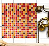 Mosaik Fliesen-Aufkleber | Selbstklebende Sticker-Fliesen für Küche u. Bad | Fliesenmotive für Küchenrückwand - Wandgestaltung mit Kachel-Motiv Folie | 20x20 cm - Muster Mosaik Rot-Orange - 54 Stück