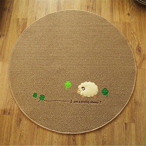 GJ- Handwäsche Cartoon Stickerei Handwerk Kinder runden Teppich Yoga Bedside Schlafzimmer Computer Stuhl Kissen Korb ( Farbe : Brown color , größe : Diameter 150cm ) Gewebte Leder-teppich