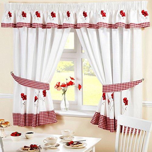 Homespace direct ricamato floreale a quadretti a quadri papaveri plissettate cucina tenda mantovana, rosso, 136x 25,4cm goccia