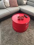 Fassmöbel Beistelltisch Ölfass Tisch Fass Design Möbel Couchtisch Rot Ø 57cm