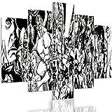 Feeby. Leinwandbild - 5 Teile - Bilder, Wand Bild, Wandbilder, Kunstdruck XXL, 5-Teilig, Typ A, 200x100 cm, MODERNE, COMIC, SUPERHELD, COLLAGE, SCHWARZ UND WEIß