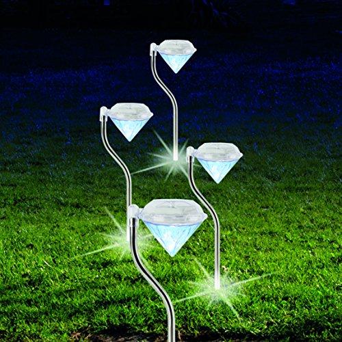 Lampada solare diamante 4pz illuminazione da esterno illuminazione da giardino bianco