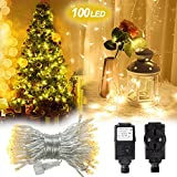 Innoolight 10m 100er Wasserdichte Led Lichterketten Für Zimmer Mit 8 Modi Für Garten, Weihnachtsbaum Als Lichterkette Transparent Innen, Led Lichterkette Strombetrieben, Led Lichterkette Aussen (10m)