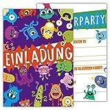 12 Lustige Einladungskarten Monsterparty Set Kindergeburtstag Party Monster Jungen Mädchen Kinder Top Geburtstagseinladungen Einladung Alien witzig