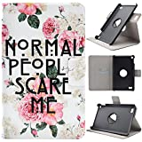 Asnlove Fire 7 2015 Hülle, Niedlich Karikatur Muster 360 Grad rotierend Ultra Lightweight Slim PU Leder Tasche Schutzhülle Schale Smart Shell Case Cover mit Standfunktion für Amazon Kindle Fire 7.0 Zoll (5. Generation - 2015 Modell) Tablet, Rose Blume