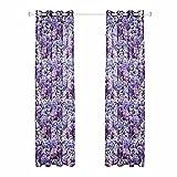 HZH-HZH-Fenster Garn Violett drucken Fenster Vorhänge (2 Stück) ,130 breit x 160 cm hoch