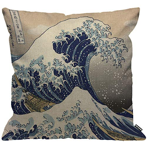 HGOD DESIGNS Kissenbezug Wave Japanisch Hokusai Der Große Wave Von Kanagawa Kissenhülle Haus Dekorativ Für Männer/Frauen/Jungen/Mädchen Wohnzimmer Schlafzimmer Sofa Stuhl Kissenbezüge 45X45cm