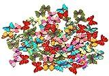 50 x Schmetterlinge/Insekten in gemischten Farben aus Holz mit zwei Löchern zum Nähen, Heimwerken und für Sammelalben