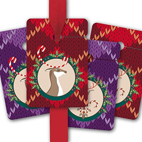 Droles Étiquettes de Cadeau pour noël   gift tags en papier   cartes de cadeaux (80 Pcs = 10 paquets) pour une belle emballage avec cerfs gaies sur l'optique tricot