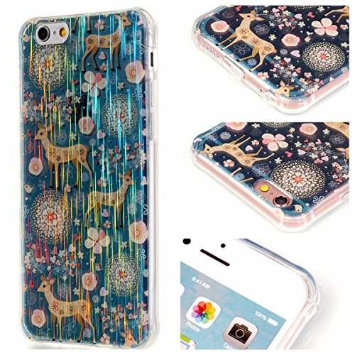 iPhone 6S Plus Hülle Case,Gift_Source [Magpie] [Satin Finish] [Drop Protection] Luxury Brushed Satin design Flexible Silicone Soft TPU Transparent mit Dust Plugs Hülle Case für iPhone 6s Plus / 6 Plus E01-06-Deer
