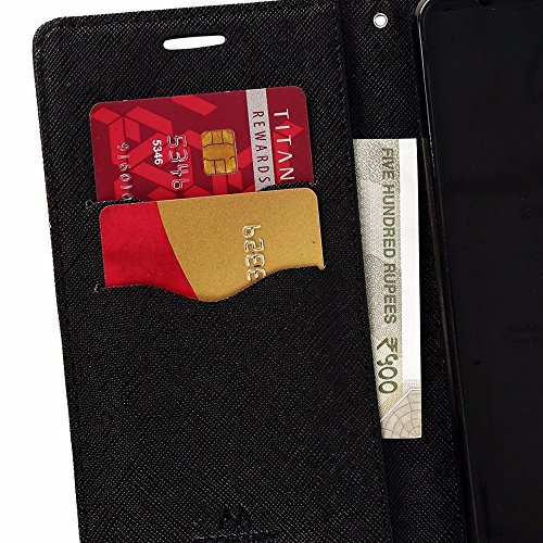 Avzax Stylish Luxury Diary Wallet Style Flip Cover Case with Magnetic Lock for Alcatel A5 Led (Black)