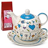 Tea For One Teapot Set With Cup And Saucer In Gift Box 17 x 13 cm Flowers/Hearts Design Blue