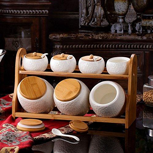Contenitore per spezie in ceramica semplice imposta/La Spezia scatola Kit/sealed jar in cucina/scatola metallica]/Spice vasi set di sette-A