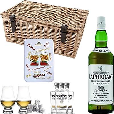 Laphroaig 10 Year Old Single Malt Scotch Whisky 35cl Half Bottle Hamper Gift Set With Handcrafted Gifts2Drink Tag