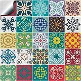 24x multicolore mosaïque Autocollants adhésifs 15x15cm du film 2D pour les tuiles couvrent la couche mince pour des tuiles de salle de bains ou de cuisine